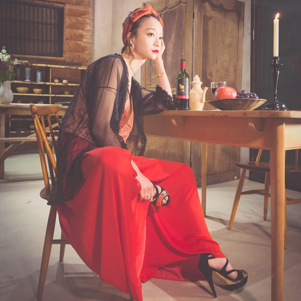 Red Gather Wide Pants