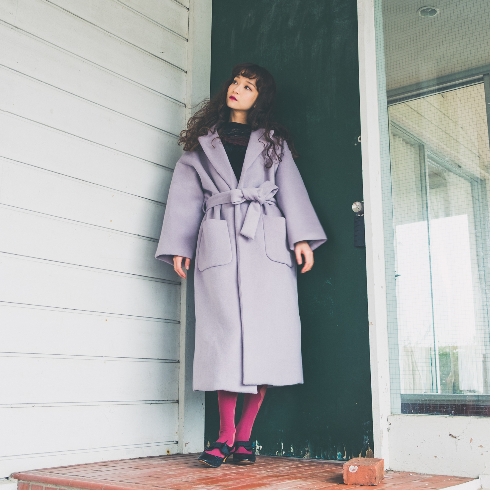 Gray×Red Coat Style