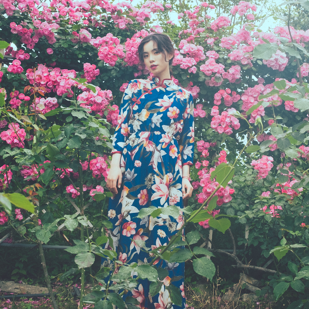 Chinoiserie Flower Print Long Dress