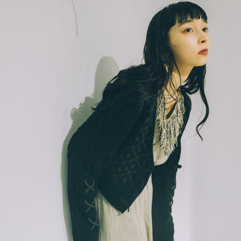 Nordic Design Pattern Knit Cardigan(Black × Khaki)