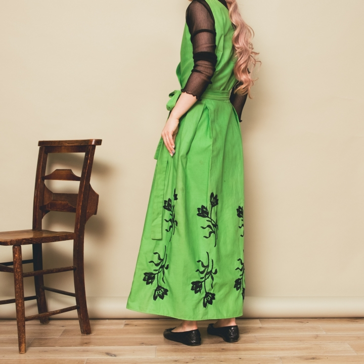 70s Green Flower Embroidered Onepiece