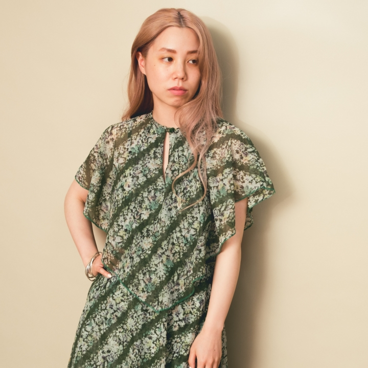 70s Green Floral Sheer Onepiece
