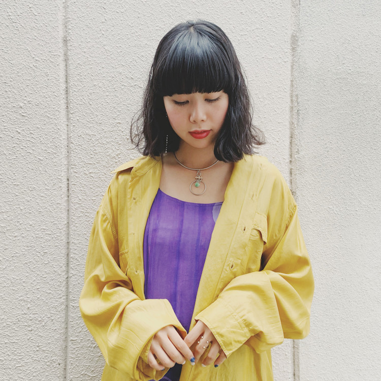 Over Silk Shirt×Purple Camisole Dress