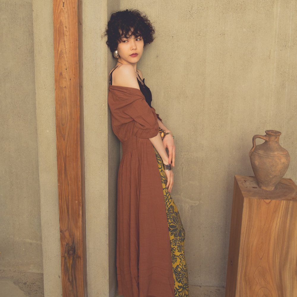 Cotton Greek Gown Onepiece(Brown)