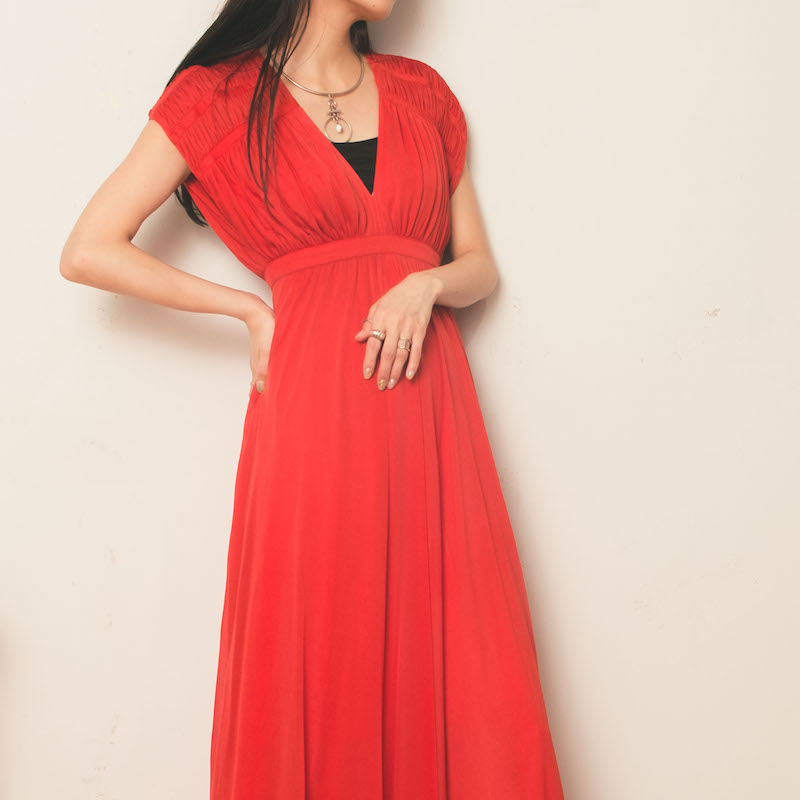 70s Red Shoulder Point Long One piece