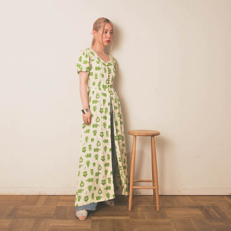 50s Crock Print Vintage Gown One piece