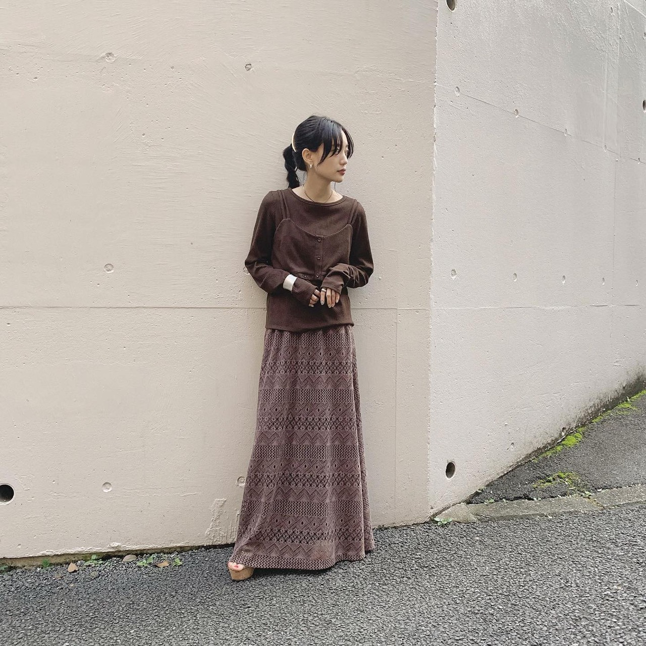 19AW 2way Layered Tops × Lace Long Skirt