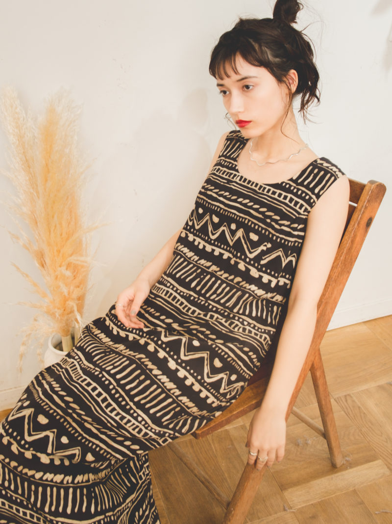 Black Ennui Print Long One piece