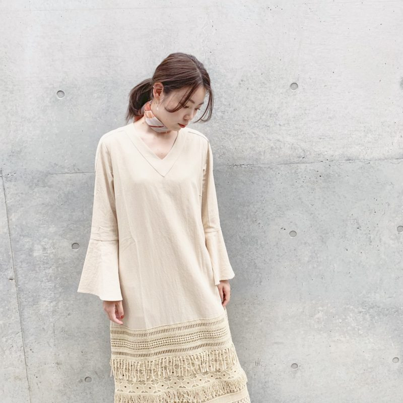 MARTE Cotton Linen Fringe Lace Dress (Beige)