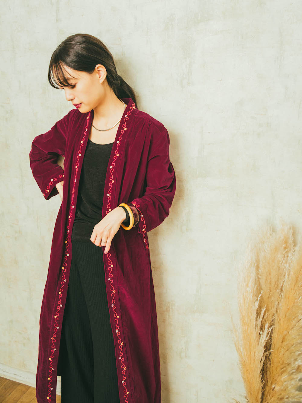 Wine Red Velour Long Gown One piece