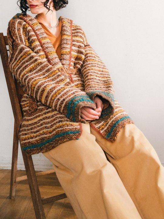 Multi Border Hooded Knit Cardigan