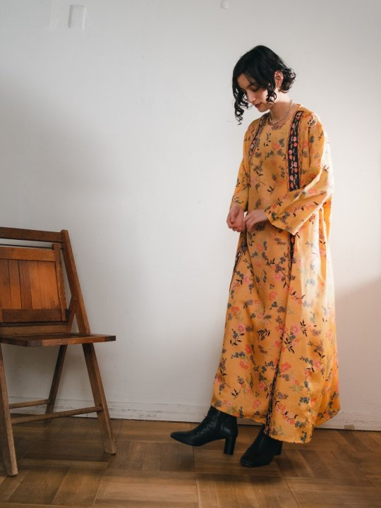 70s Chinoiserie Pattern Layer Dress