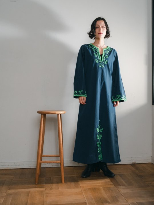 Navy Green Embroidered Dress